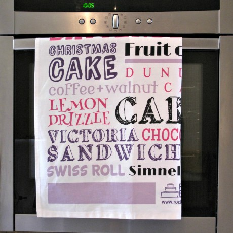 pink purple british cakes tea towel