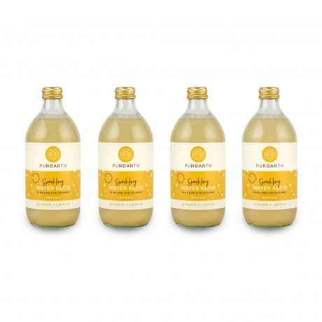 Purearth Ginger + Lemon Sparkling Water Kefir 270ml (4 Pack)