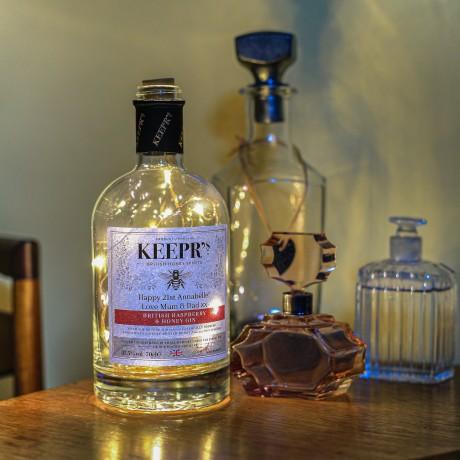 Personalised English Raspberry & Honey Gin with bottle light
