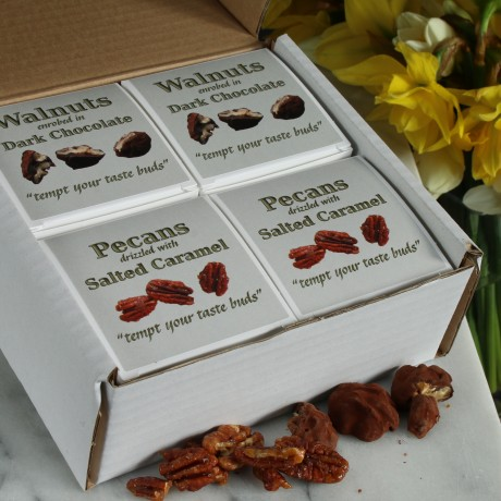 Pecans with Salted Caramel & Walnuts Enrobed in Dark Chocolate