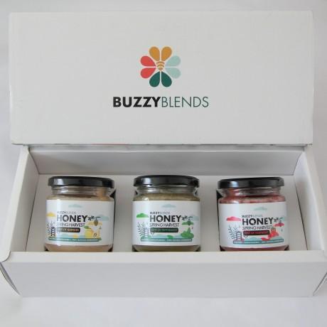 Trio of raw infused honey gift box