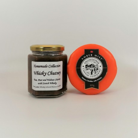 """Snowdonia Cheese Company """"Amber Mist"""" Mature Cheddar with Whisky and Plum, Pear and Walnut Chutney with Whisky"""