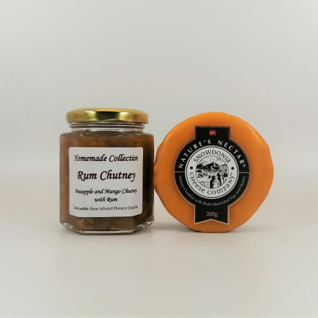 """Snowdonia Cheese Company """"Natures Nectar"""" Mature Cheddar and Rum, Figs and Honey and Pineapple, Mango and Rum Chutney"""