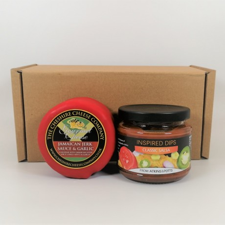 Cheshire Cheese Company Jamaica Jerk Sauce Spicy Cheddar with Atkins & Potts Salsa Dip