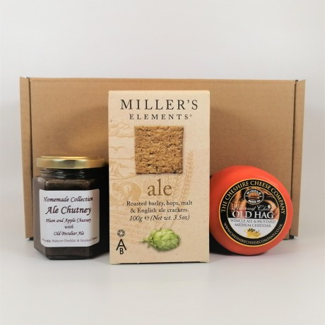 Cheshire Cheese Company Old Hag Wincle Ale & Mustard Cheddar and Plum, Apple and Old Peculiar Ale Chutney with Crackers