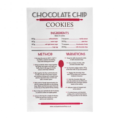 Chocolate Chip Cookie Recipe Tea Towel