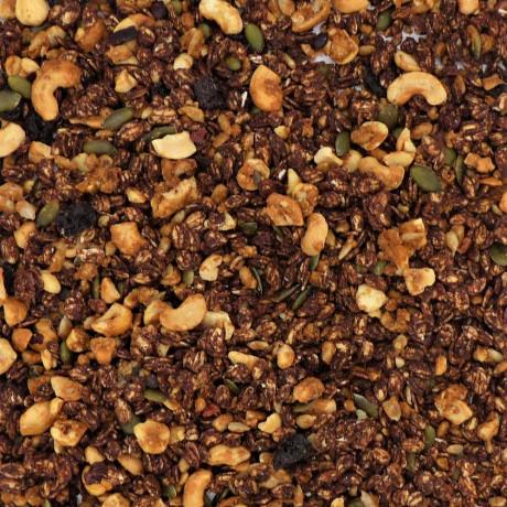 Choccie granola close up