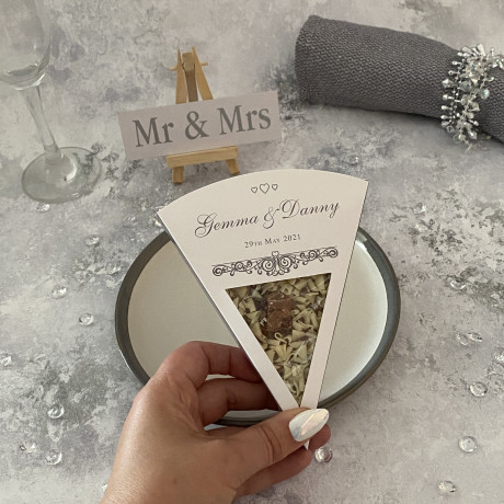Silver-themed chocolate wedding slices