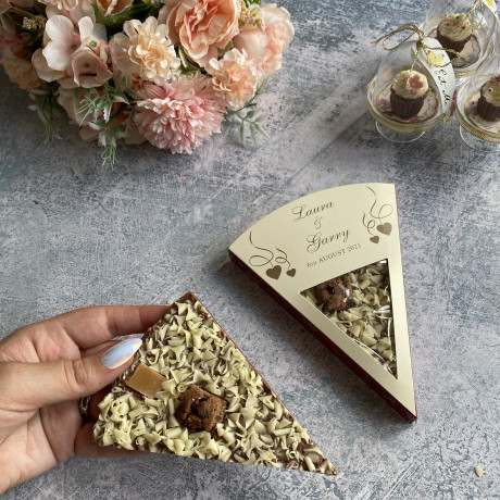Chocolate Pizza Wedding Slices shown in and out of the box