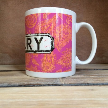 Pink and Orange Paisley Personalised Mug