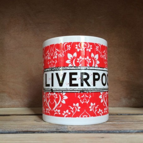 Red Damask Personalised Mug