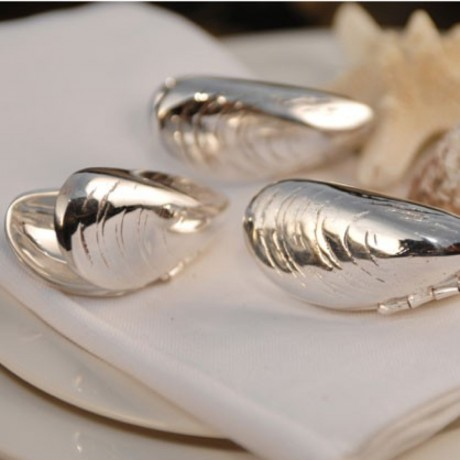 Pair Of Silver Plated Mussel Eaters