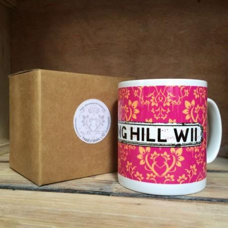 Pink Damask Personalised Mug