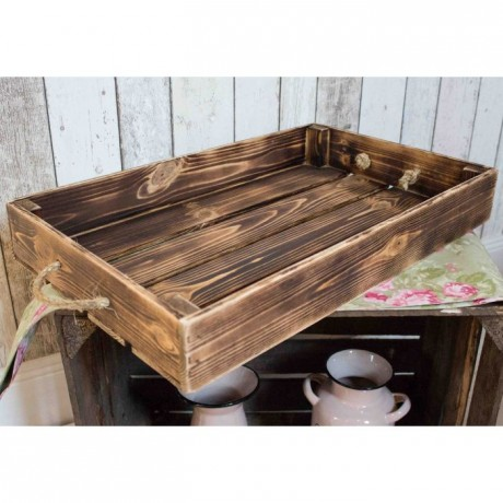 Large rustic tray - scorched wood