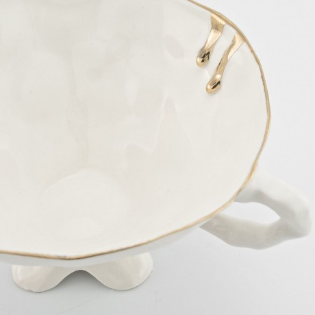 White Cup and Saucer with Gold