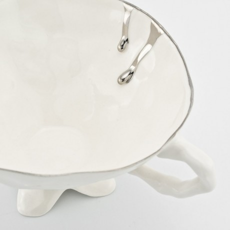 White Cup and Saucer with Platinum