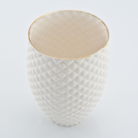 White Pineapple Mug with Golden Rim