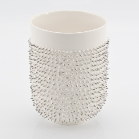 White mug with Platinum Spikes