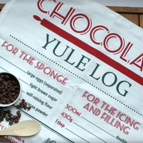 Chocolate yule log recipe tea towel