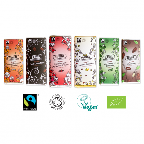Raw Chocolate Bar Collection - Organic, Fairtrade (6 bars)