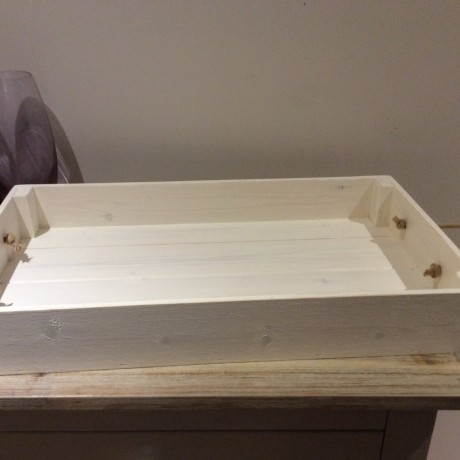 Large rustic tray in ivory