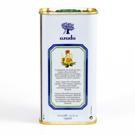 Back label of Orange flavoured olive oil