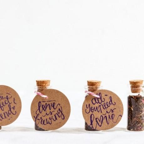 Personalised Tea In Cork Bottle Wedding Favour