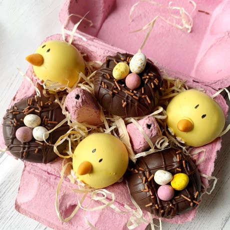 Easter Chick Cake Pop Balls in a Box