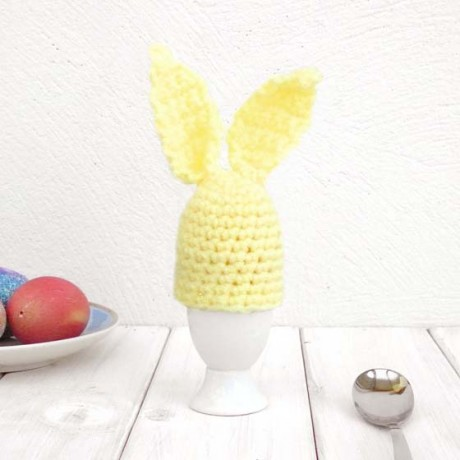 Pastel Yellow Crochet Bunny Egg Cup Cosy