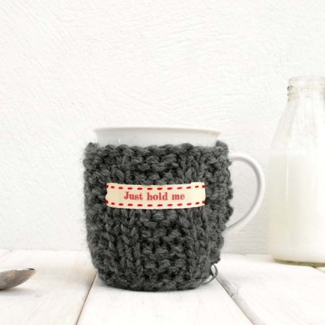 Charcoal Grey Personalised Knitted Mug Cosy