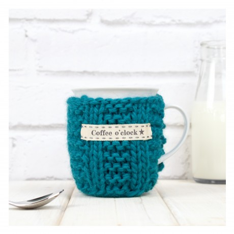 Teal Personalised Knitted Mug Cosy