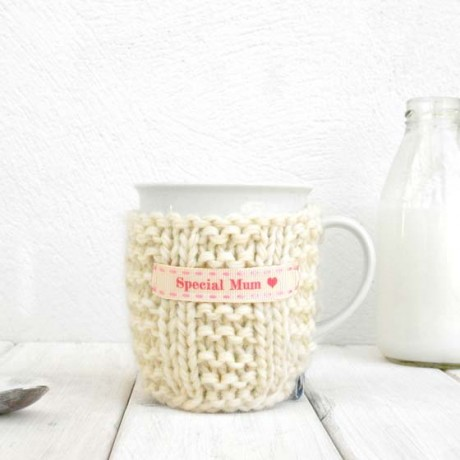 Cream with Pink Stitch Ribbon Personalised Knitted Mug Cosy