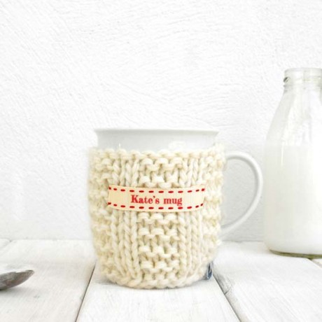 Cream with Red Stitch Ribbon Personalised Knitted Mug Cosy