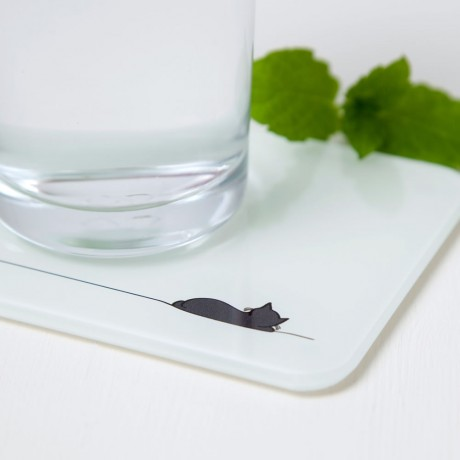 Sleeping Cat Glass Coaster
