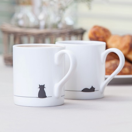 Sitting Cat and Sleeping Cat Mug, Set of Two Fine Bone China Mugs