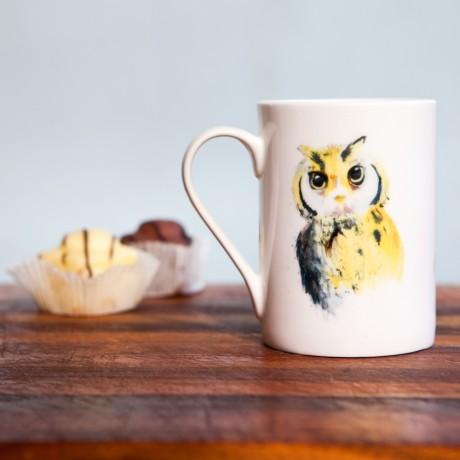 Inky Owl Fine Bone China Mug