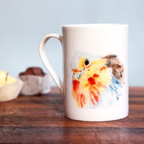 Inky Robin Fine Bone China Mug