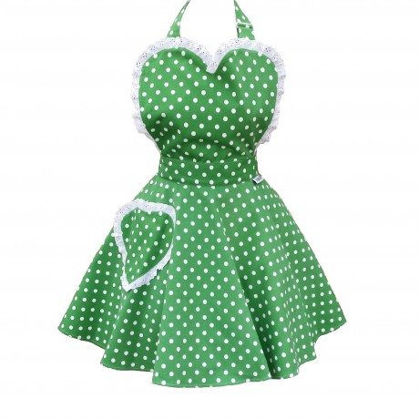 Deliciously Dotty Kelly Green Sweetheart Apron