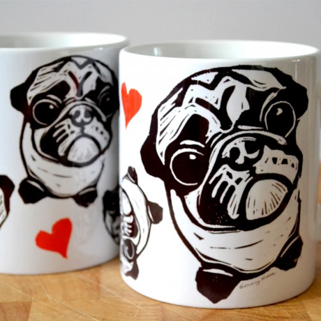 Pugs and hearts from an original design