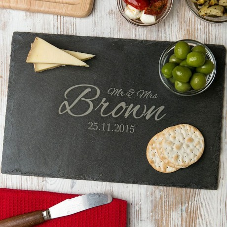 Personalised 'Mr And Mrs' Wedding Date Slate Board