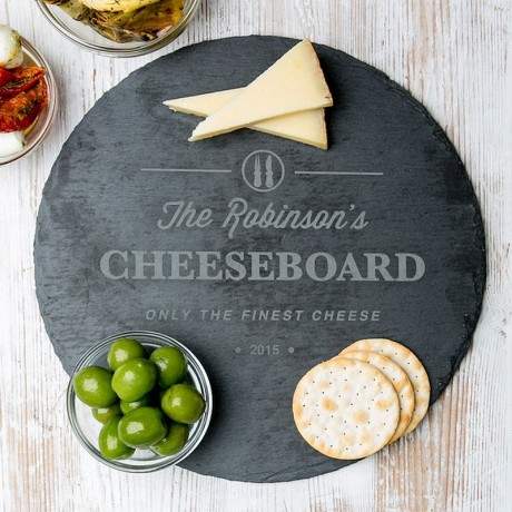 Personalised Family Round Slate Cheese Board