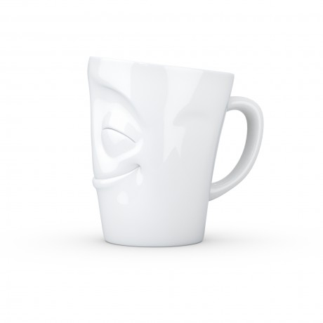 White Mug with a Cheery Expression