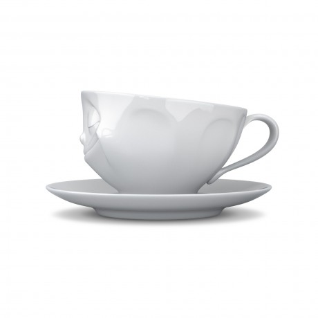 Side view of the 'Happy' Cup and Saucer