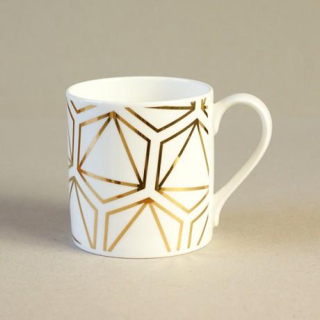 Gold octahedron mug