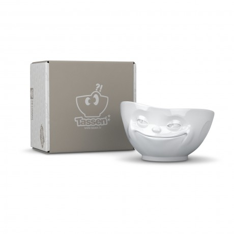 Fun serving bowl in white porcelain 'grinning'
