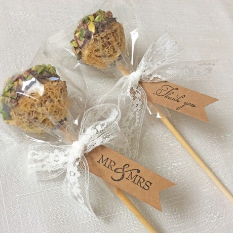 Baklava Pop wedding favour label tag