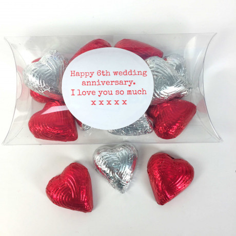 Pack of 12 Foiled Handmade Chocolate Hearts