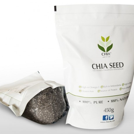 Clear bottom of Chia Seed pouch