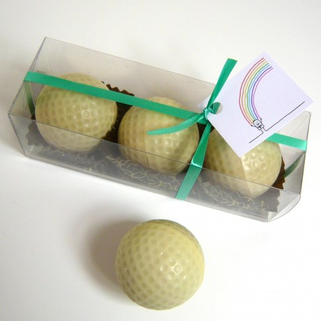 Three Chocolate Golf Balls In a Gift Box