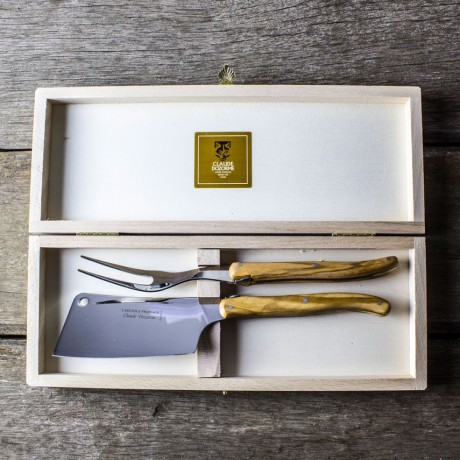 Claude Dozorme Laguiole 2 Piece Cheese Knife Set - Olive Wood Handle